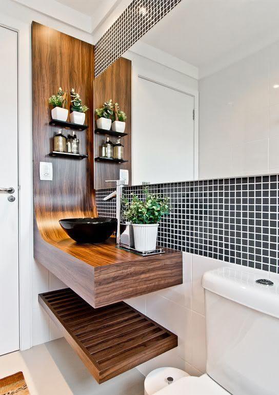 60 Bancadas de Banheiros e Lavabos para te Inspirar -> Bancada De Banheiro Com Pastilha De Vidro