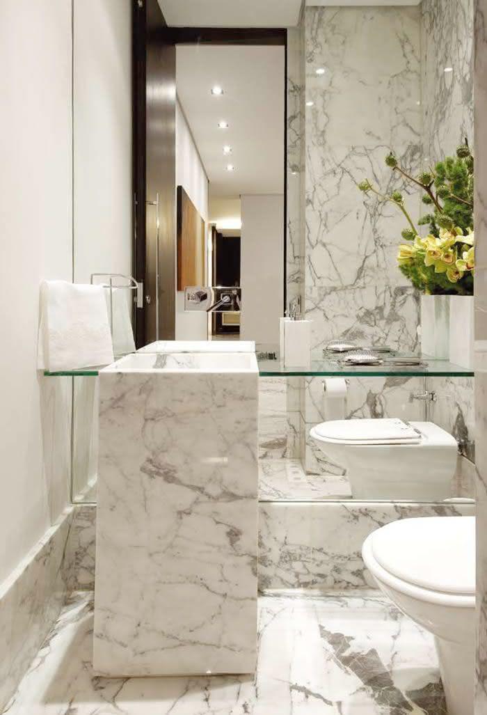 60 Bancadas de Banheiros e Lavabos para te Inspirar -> Cuba Banheiro Marmore