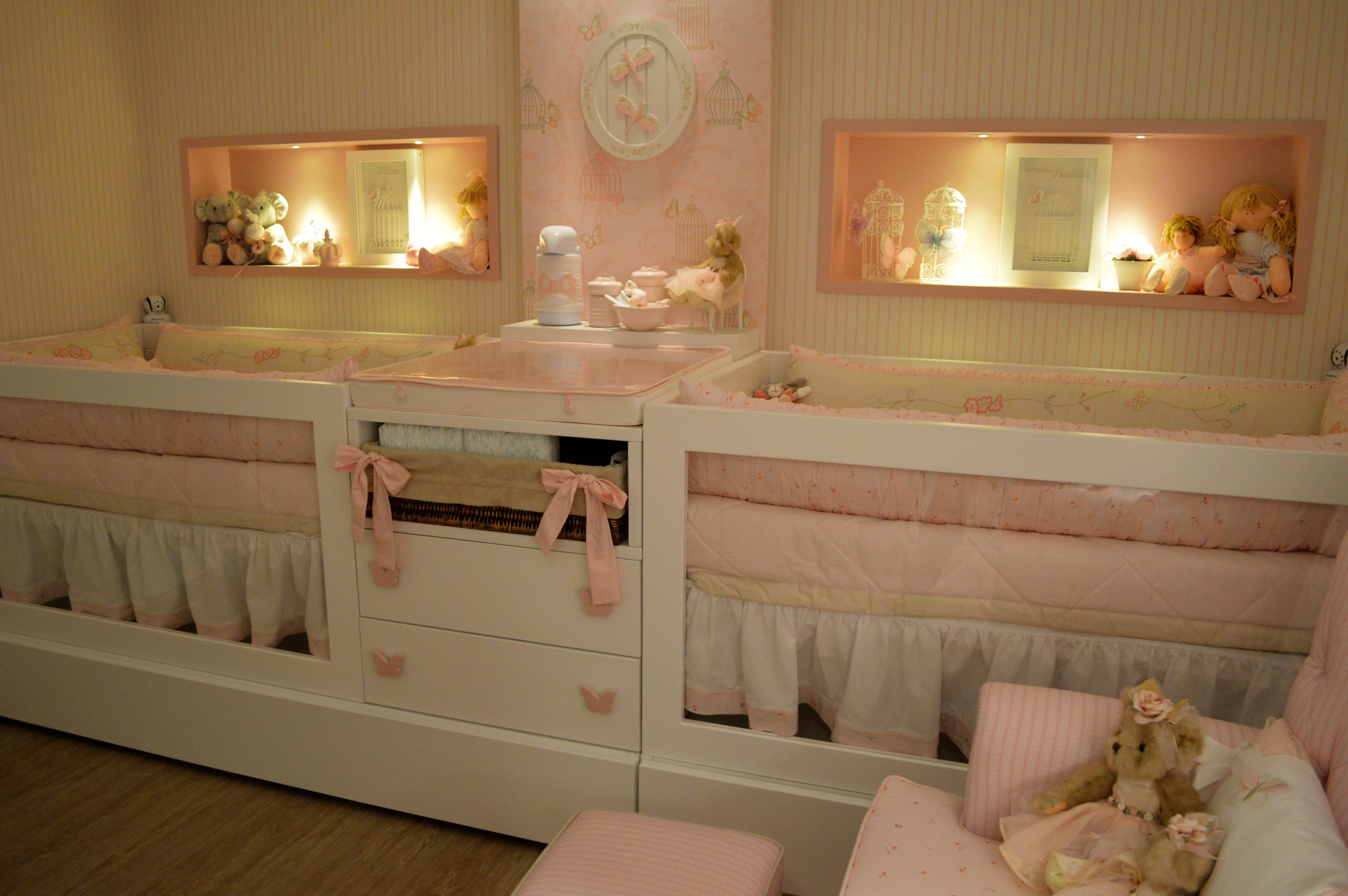 50 Quartos de Bebês Gêmeos Decorados e Inspiradores ~ Quarto Planejado Para Gemeas