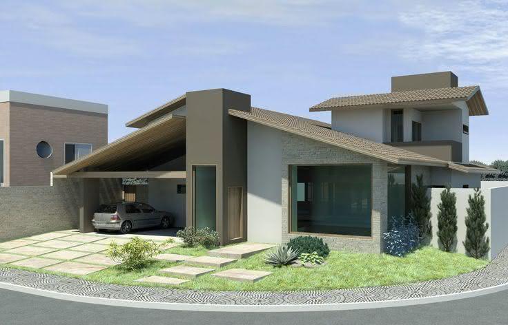 Exemplo de projeto de casa localizada em uma esquina.