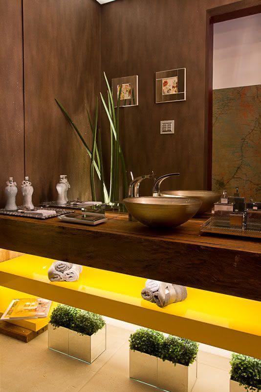 60 Bancadas de Banheiros e Lavabos para te Inspirar -> Pia Banheiro Amarela