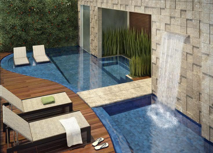 Cascata para piscina embutido em parede de revestimento de pedra