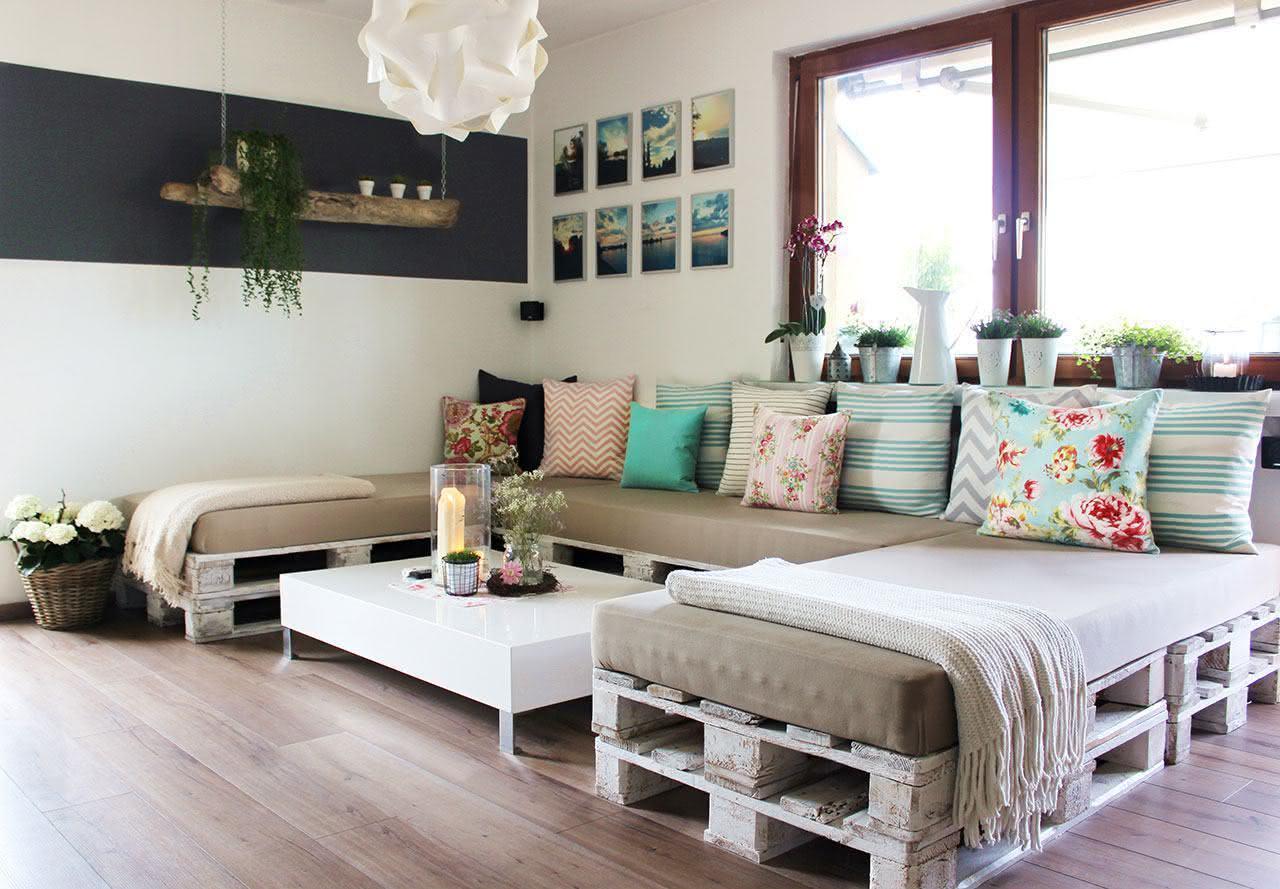 Sofá de pallet com pátina