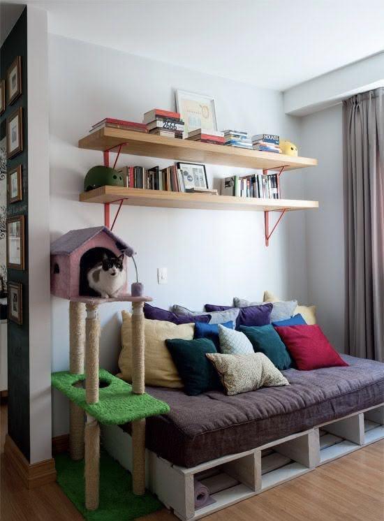 Sofá de pallet para sala pequena