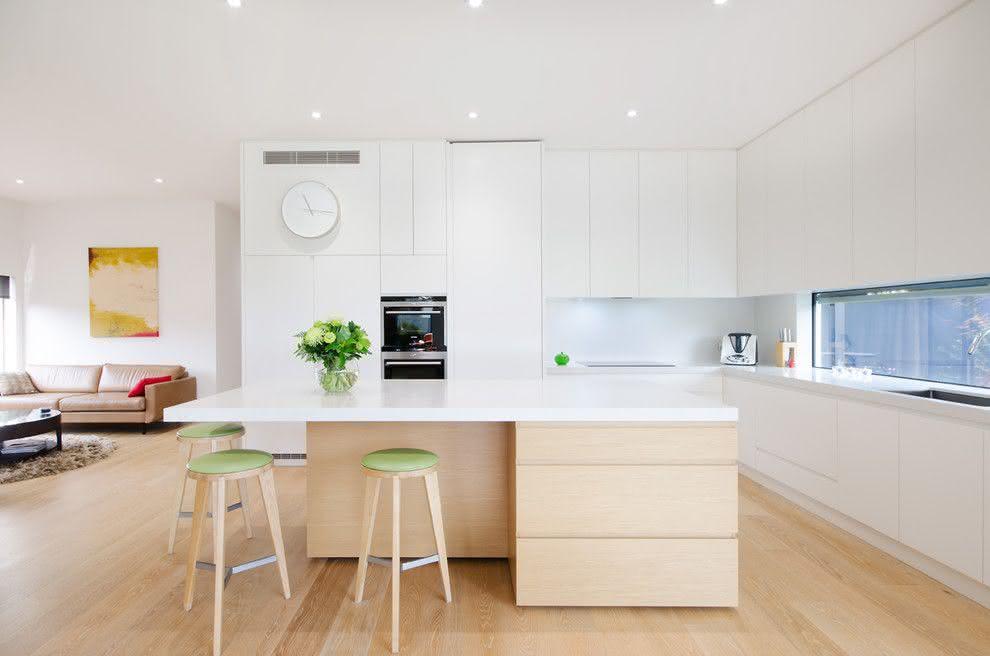 Projeto de cozinha minimalista com ilha central