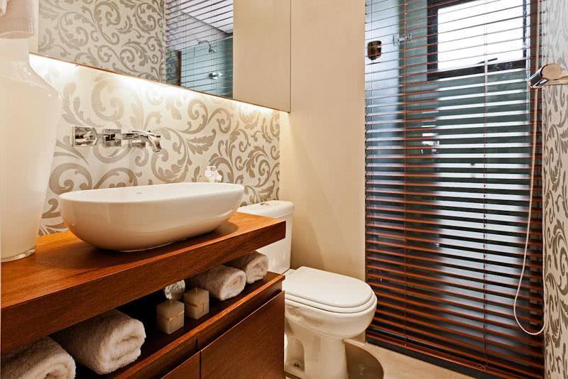 50 lavabos modernos lindos para te inspirar fotos for Papel de pared rustico