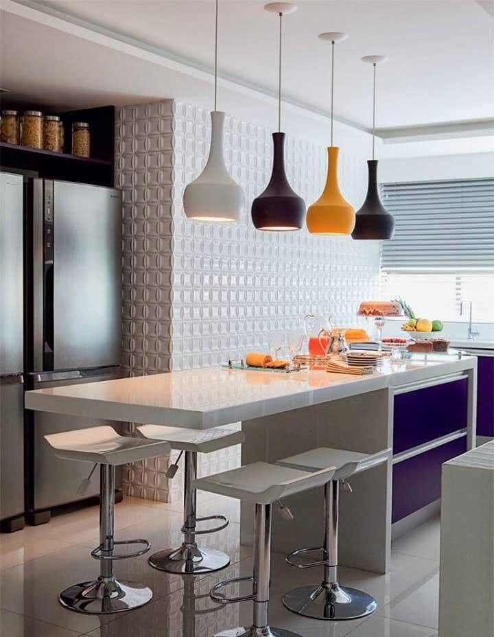 100 cozinhas com ilha central projetos e fotos incr veis - Forrar azulejos cocina ...
