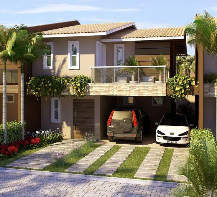 109 fachadas de casas simples e pequenas fotos lindas for Modelo de casa x dentro