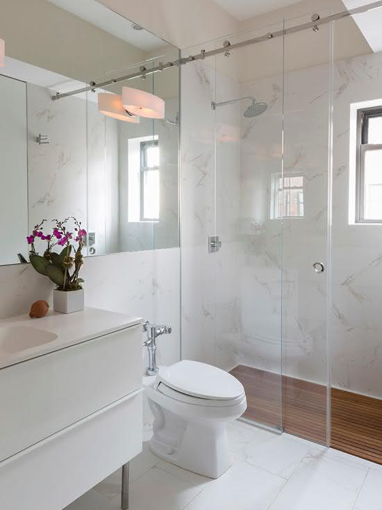 50 Banheiros Brancos e Claros para o seu Proje -> Banheiros Medios Decorados