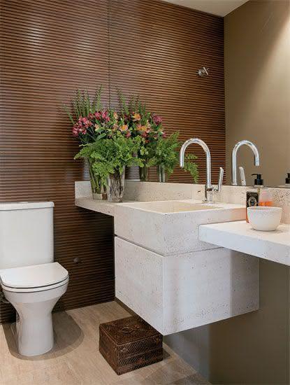 50 Lavabos Modernos Lindos para te Inspirar  Fotos -> Banheiro Pequeno Branco E Marrom