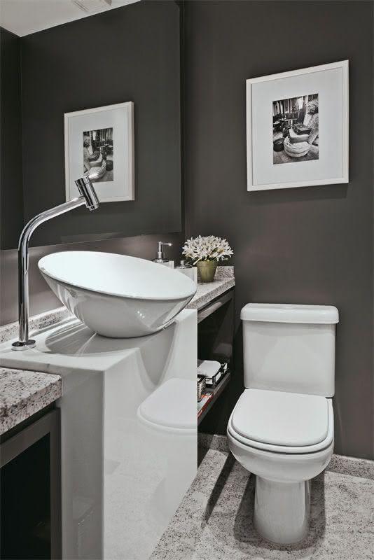 50 Lavabos Modernos Lindos para te Inspirar  Fotos -> Cuba Para Banheiro Cinza