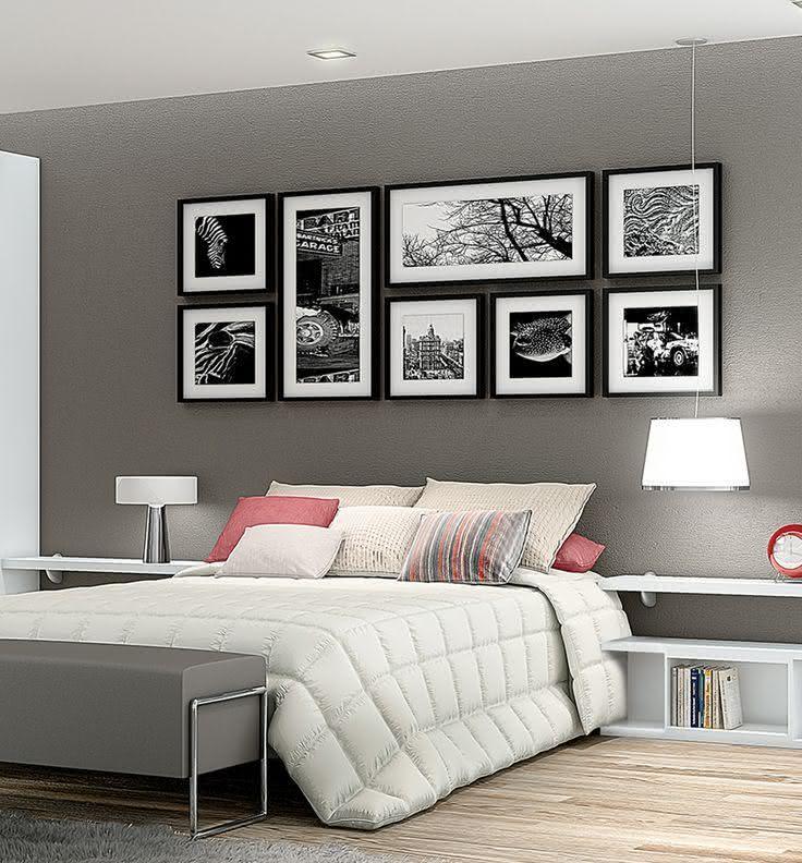 50 Quartos de Casal Cinza Inspiradores Fotos ~ Quarto Solteiro Cinza E Branco