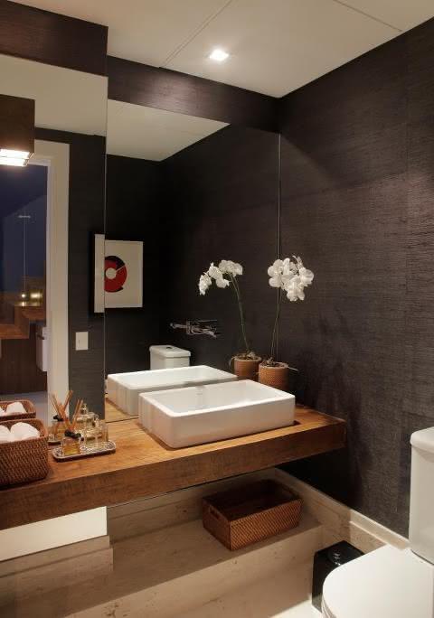 50 Lavabos Modernos Lindos para te Inspirar  Fotos -> Altura De Pia De Banheiro Com Cuba Sobreposta