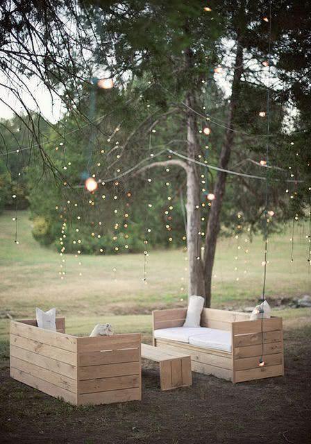 Sofá de pallet para jardins ao ar livre