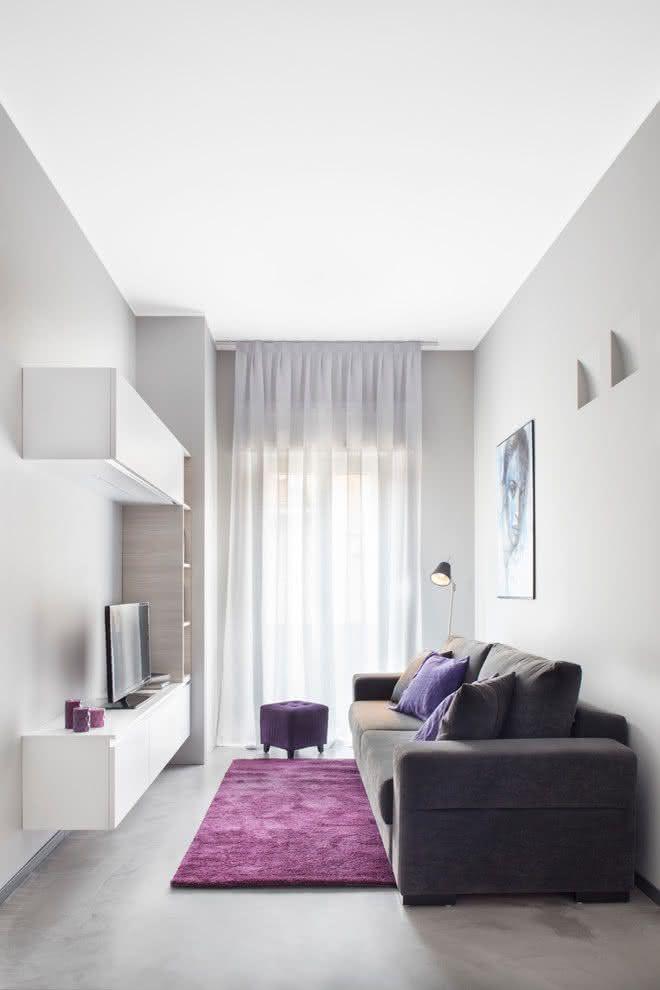 65 salas de tv pequenas decoradas para voc se inspirar for Salas minimalistas pequenas