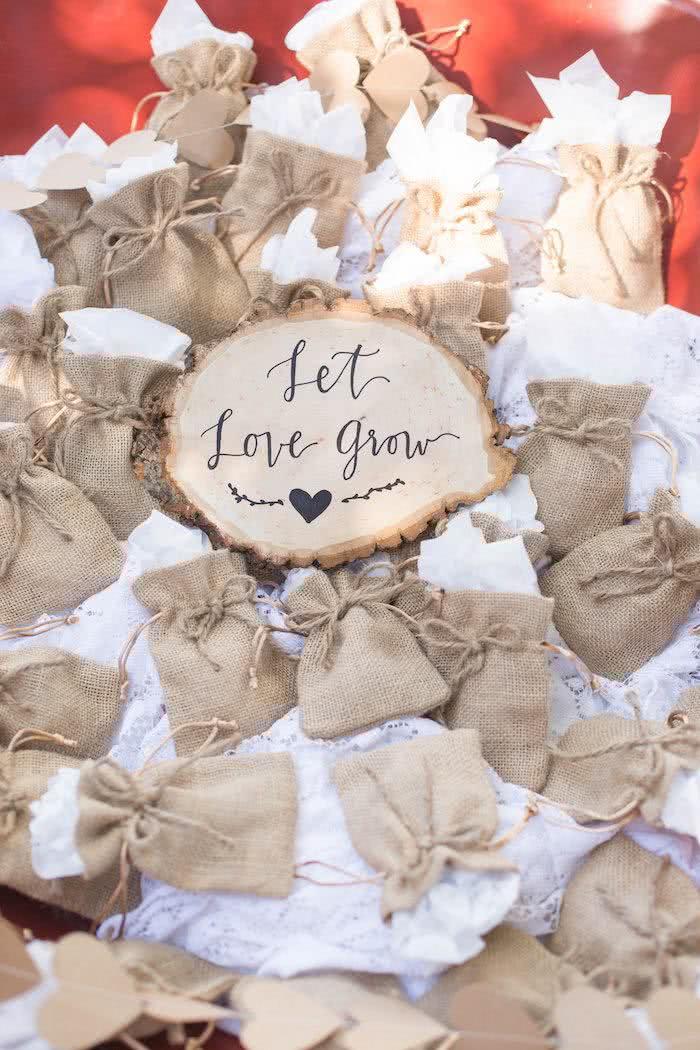 Deixe o amor crescer: sementinhas para as convidadas semear e colher