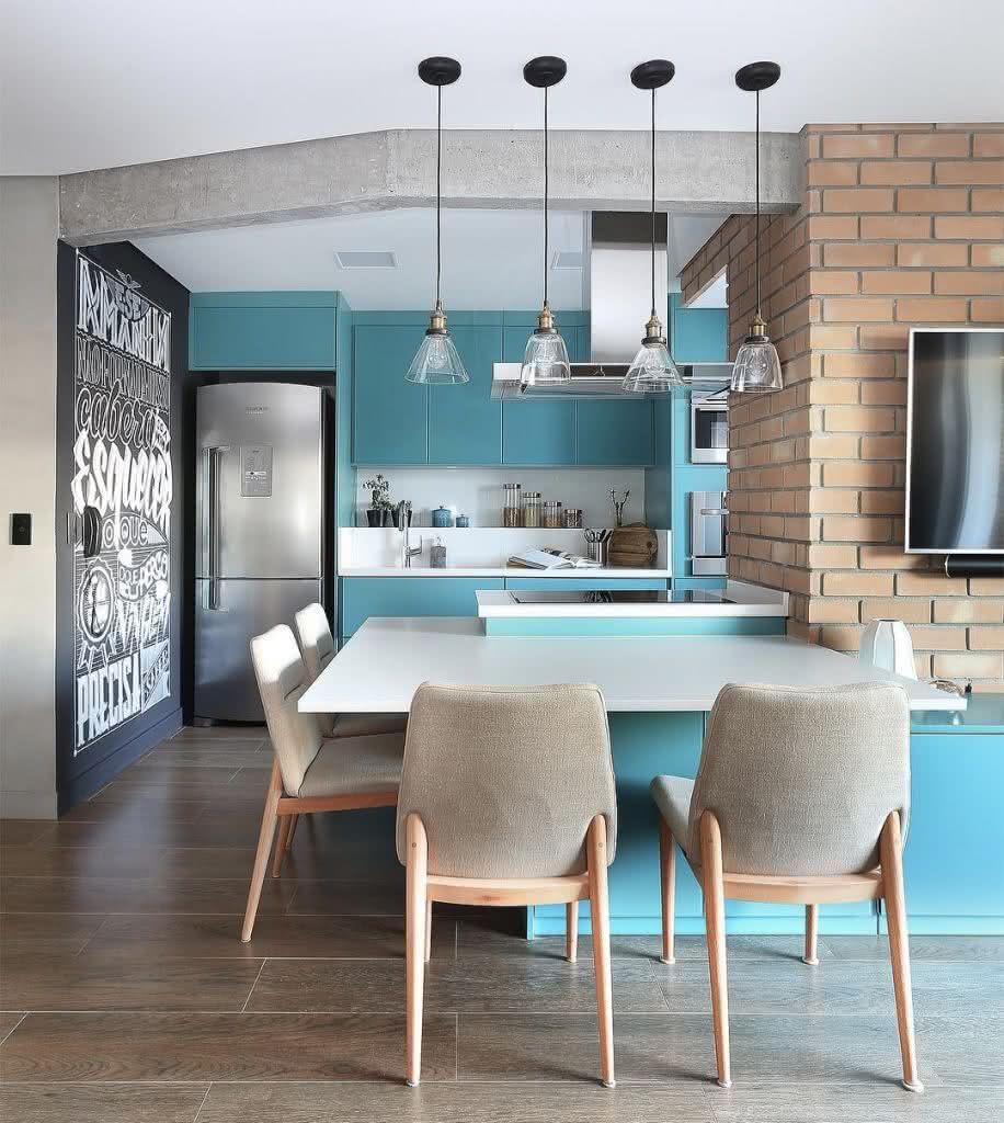 60 Pisos Para Cozinha Modelos E Tipos E Materiais -> Sala E Cozinha Mesmo Ambiente