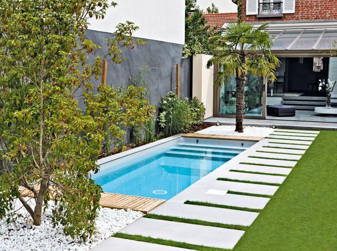 90 piscinas pequenas modelos projetos fotos lindas - Medidas de piscinas de casas ...