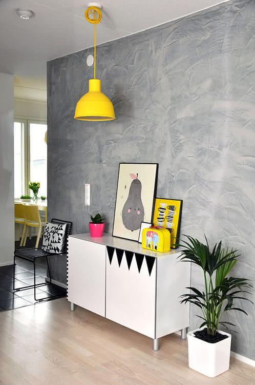 Como Organizar Una Sala De Tv ~ Imagem 31 – Textura para parede com tinta em efeito linho