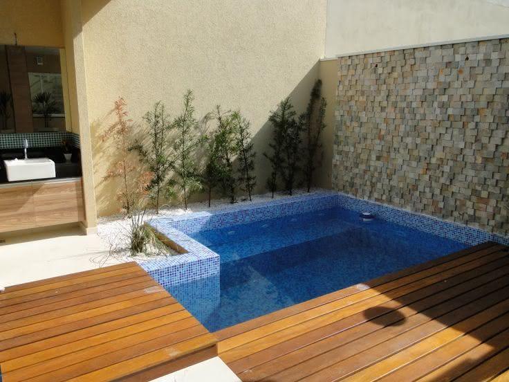 90 piscinas pequenas modelos projetos fotos lindas for Modelos de piscinas campestres
