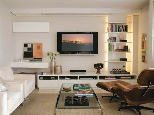 65 salas de tv pequenas decoradas para voc se inspirar. Black Bedroom Furniture Sets. Home Design Ideas