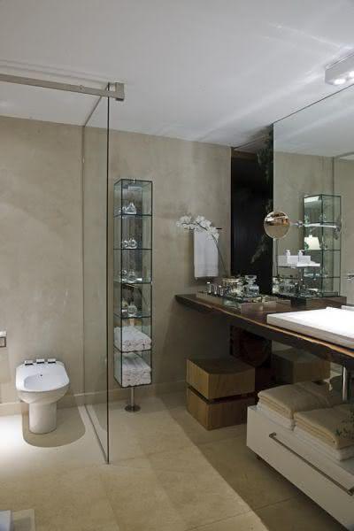 50 Ambientes com Piso de Cimento Queimado  Fotos -> Banheiro Pequeno De Cimento Queimado