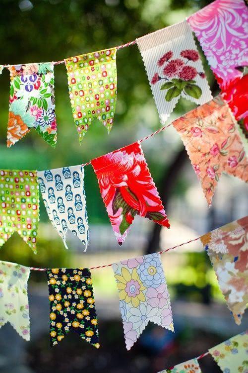 Bandeiras estampadas para decoração de festa junina