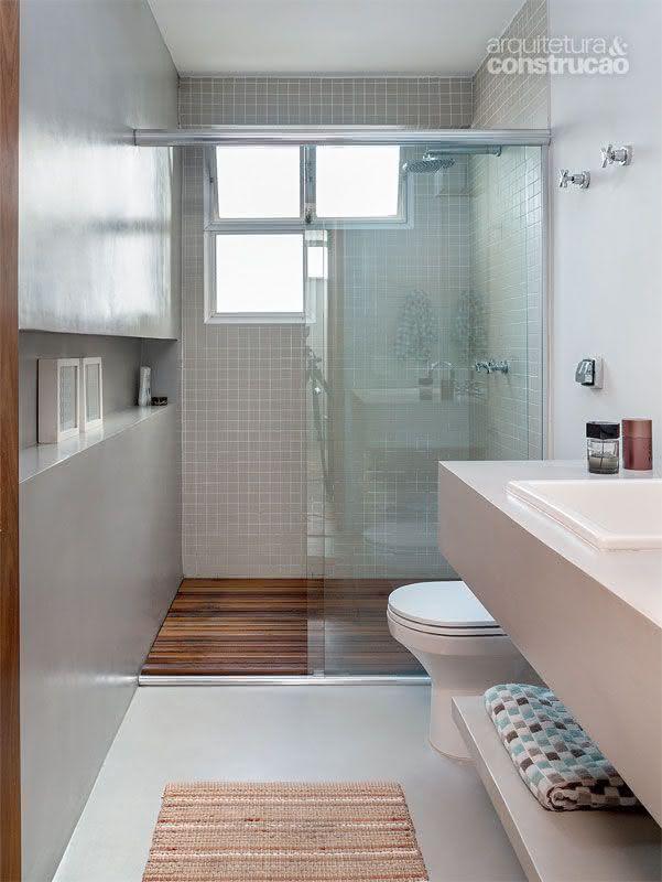 50 Modelos de Box para Banheiro para Você se Inspirar -> Banheiro Moderno Madeira