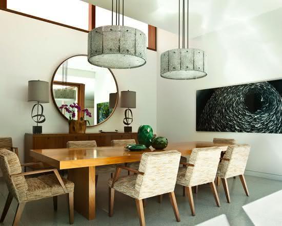 50 Espelhos Decorativos Inspiradores para seu Projeto -> Decoração De Sala De Jantar Com Espelho Redondo
