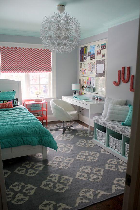 Yellow and grey chevron bedding - Imagem 72 Quarto De Adolescente Com Mural De Recados
