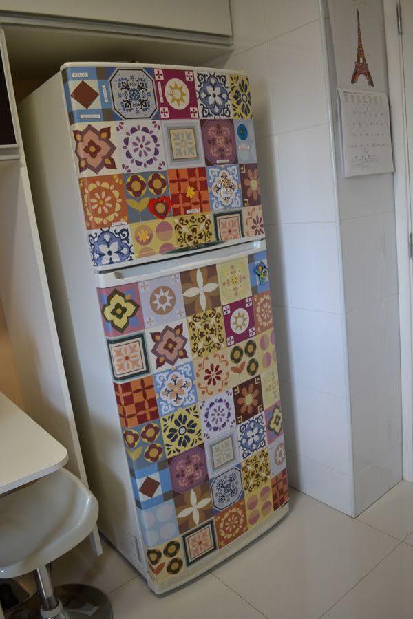 Armario Planejado Cozinha ~ 57 Geladeiras Adesivadas de Forma Criativa Dicas e Fotos!
