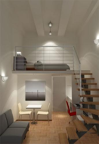 Mezanino Com Sala De Tv ~ Imagem 36 – Mezanino com cama para casal