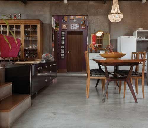 Sala De Estar Com Piso Xadrez ~ 50 Ambientes com Piso de Cimento Queimado  Fotos