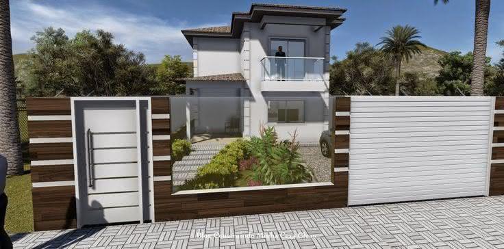 Portão residencial em lambri de aço vincado na vertical