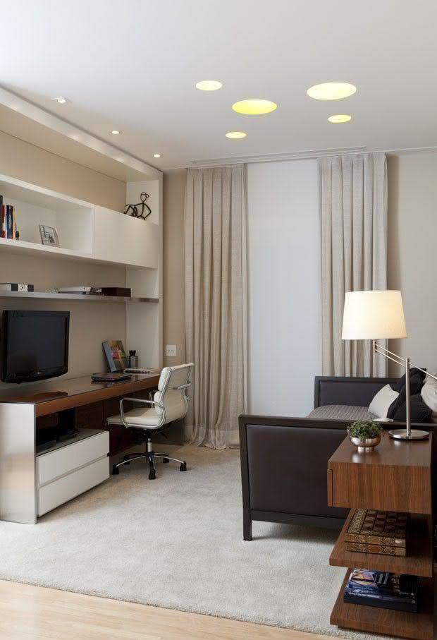 Fotos De Sala De Tv Com Escritorio ~ Imagem 75 – Sala de estar pequena com espaço para escritório