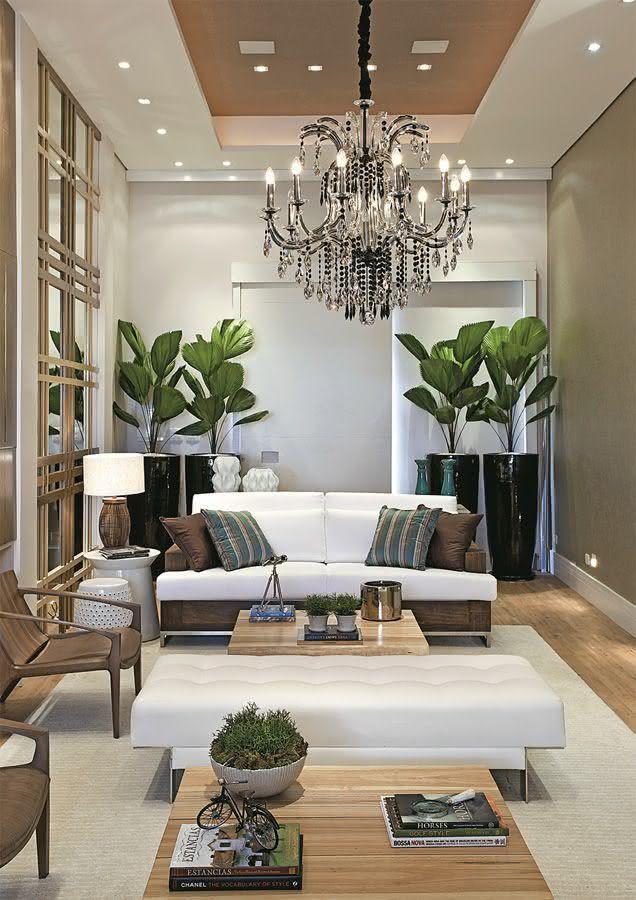 Decoracao De Sala De Estar Luxuosa ~ Imagem 49 – Vasos com plantas para decorar sala de estar