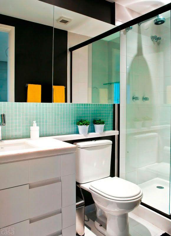 50 Modelos de Box para Banheiro para Você se Inspirar -> Banheiros Com Pastilhas Em Cima Do Vaso