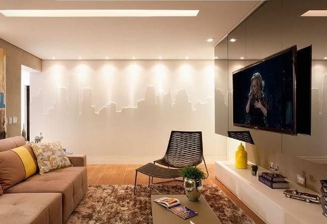Decoração de sala de TV muito bonita