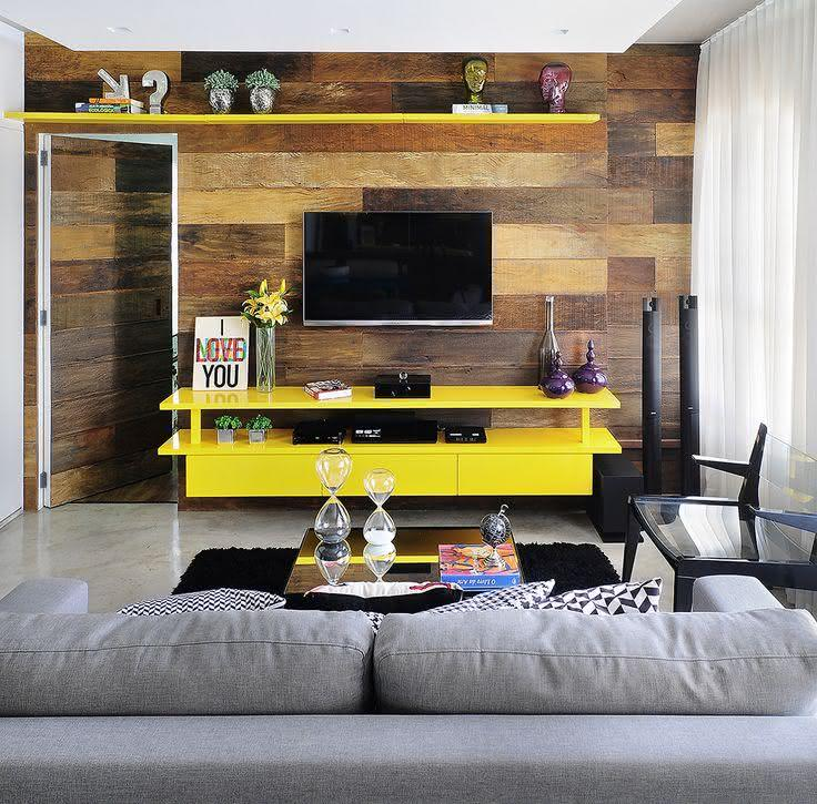 Decoracao De Sala De Tv Com Sofa Cinza ~ 65 Salas de TV Pequenas Decoradas para você se Inspirar