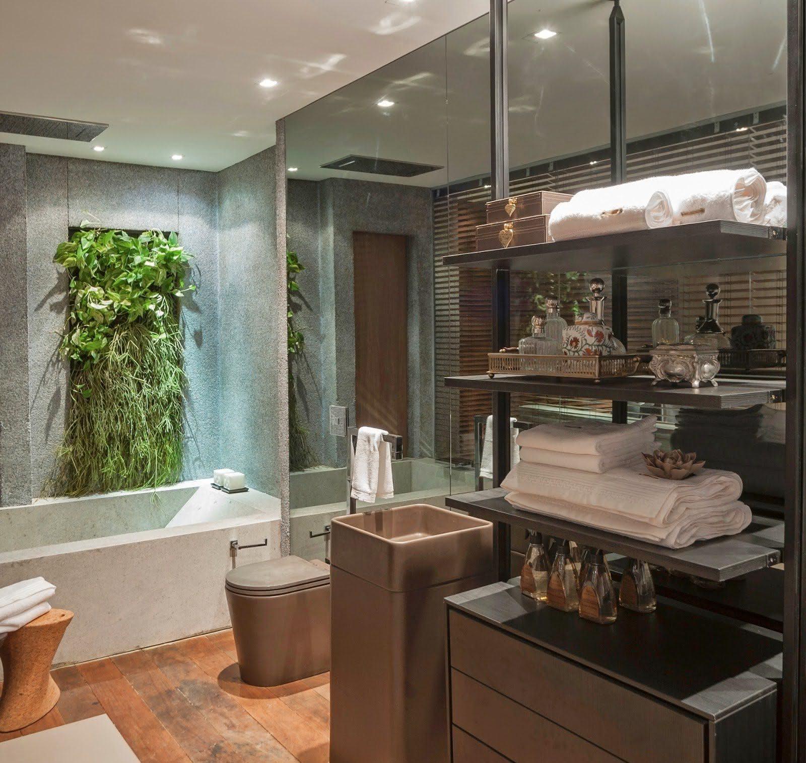 #925C39 Imagem 40 – Decore seu banheiro com um jardim vertical 1600x1516 px Banheiro Ofuro 2701