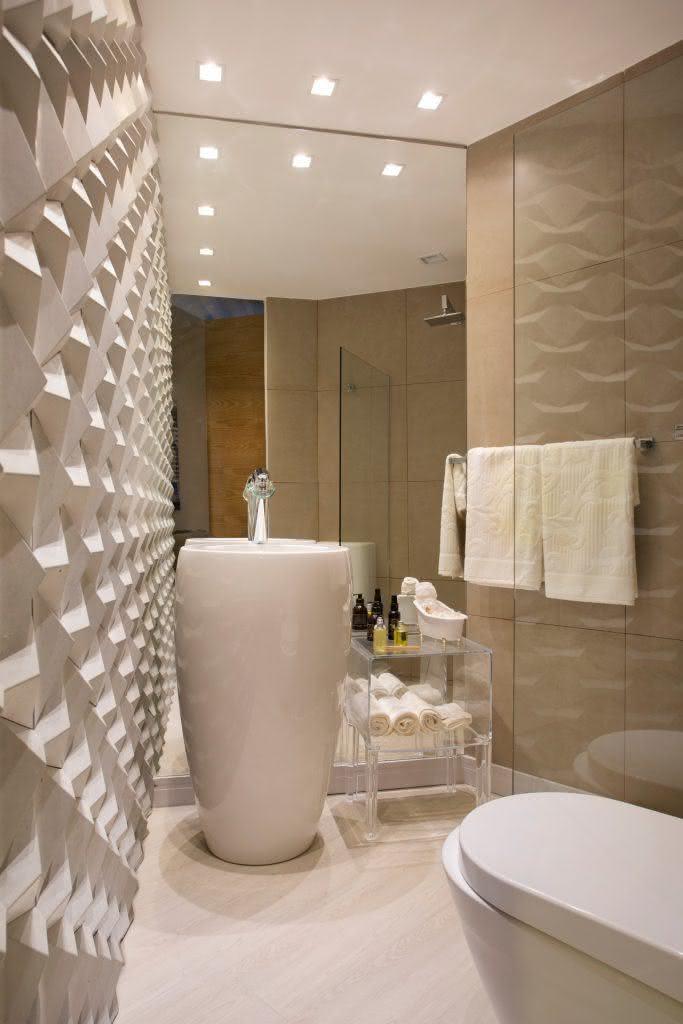 75 banheiros simples e pequenos inspiradores fotos - Piso pequeno moderno ...