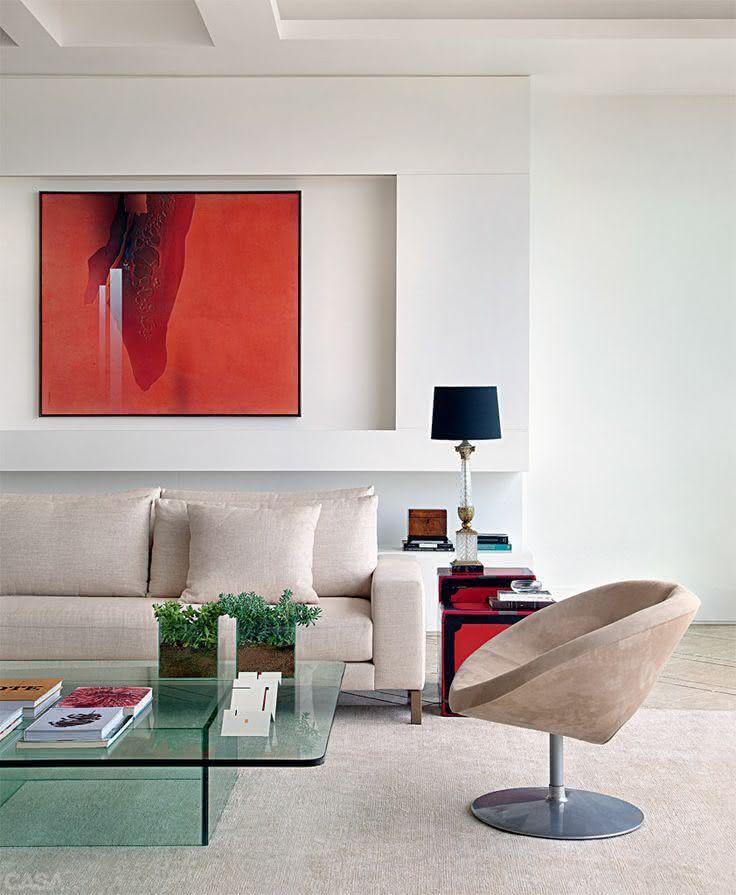 Sala De Estar Com Quadros Modernos ~ imagem 1 quadro vermelho na sala de estar