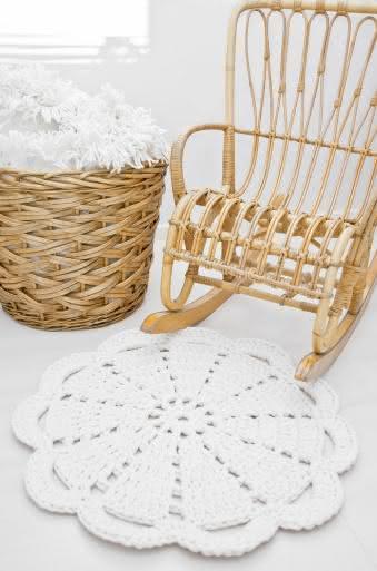Tapete de crochê pequeno e simples