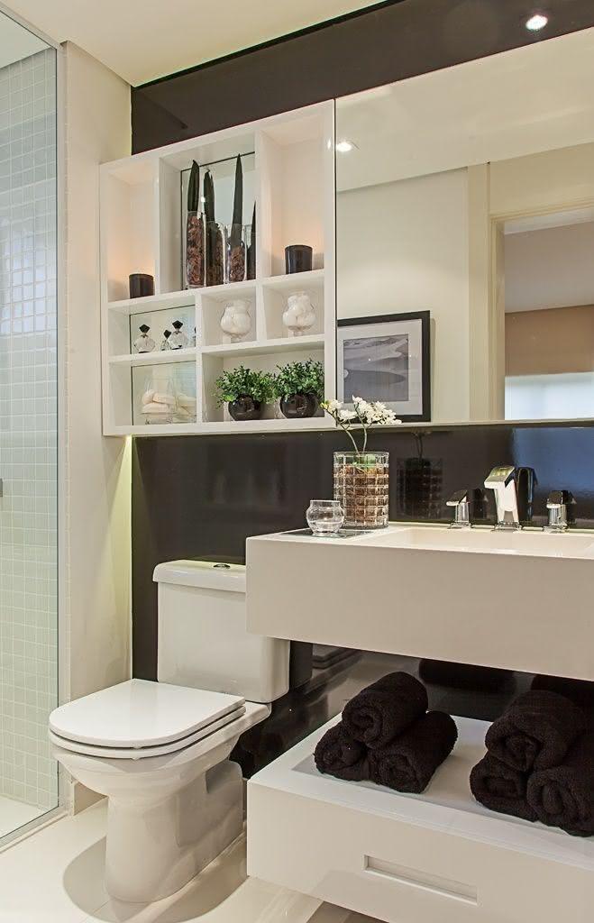 100 Banheiros Simples e Pequenos Inspiradores  Fotos -> Decoracao Para Banheiro Pequeno Simples