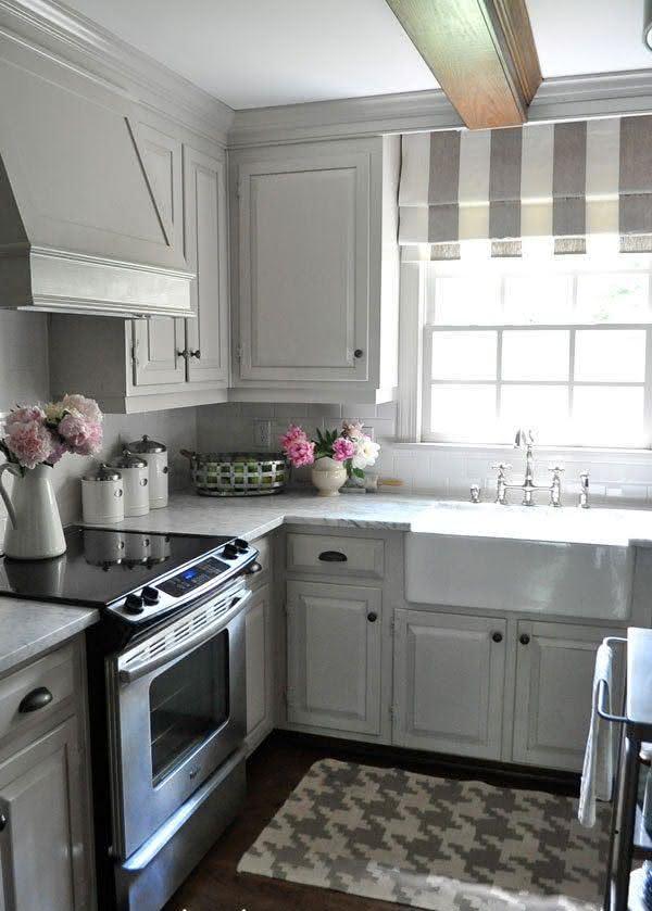 50 cortinas para cozinhas ideias e fotos inspiradoras - Cocinas alargadas y estrechas fotos ...