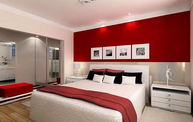 Cores para Quartos de Casais Veja 125 Fotos com Exemplos ~ Quarto Romantico Vermelho