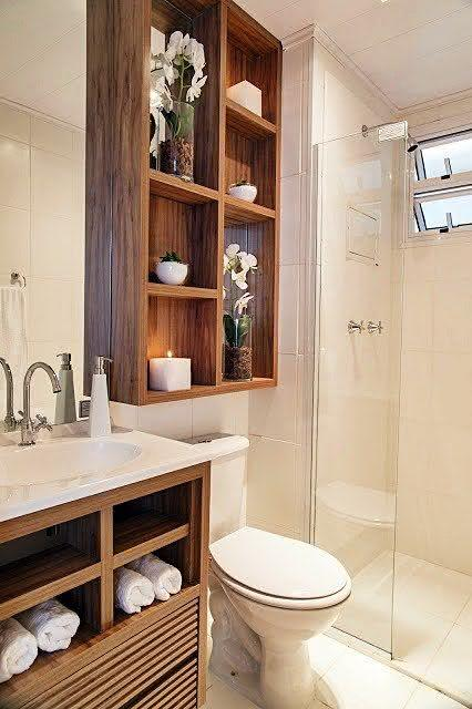 100 Banheiros Simples e Pequenos Inspiradores  Fotos -> Decoracao De Banheiros Modernos Pequenos