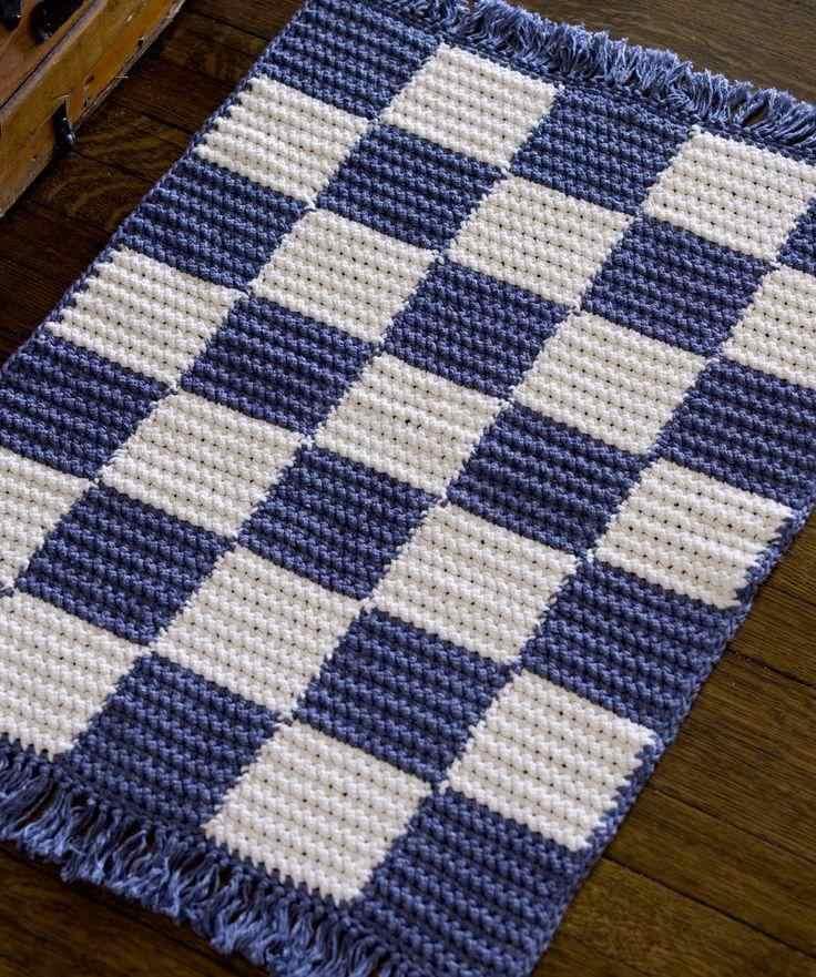 Tapete de crochê estilo navy retangular