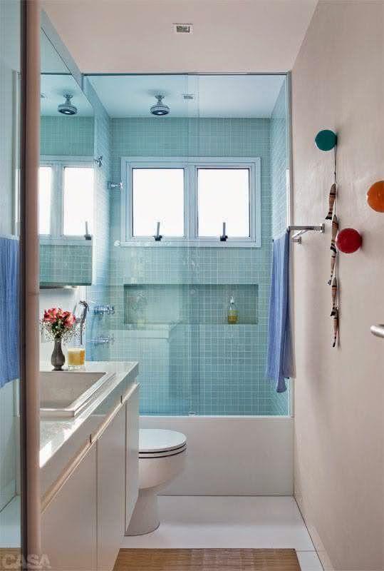 100 Banheiros Simples e Pequenos Inspiradores  Fotos -> Banheiro Com Pastilha Na Parede Do Chuveiro