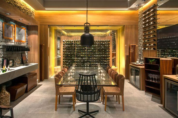 Imagem 27 – Adega de vinho com espaço gourmet integrado